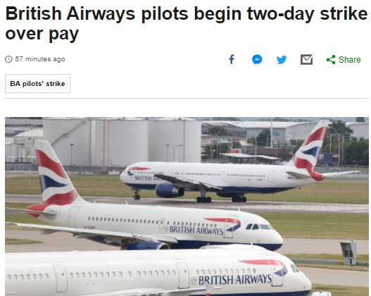 greva british airways bbc